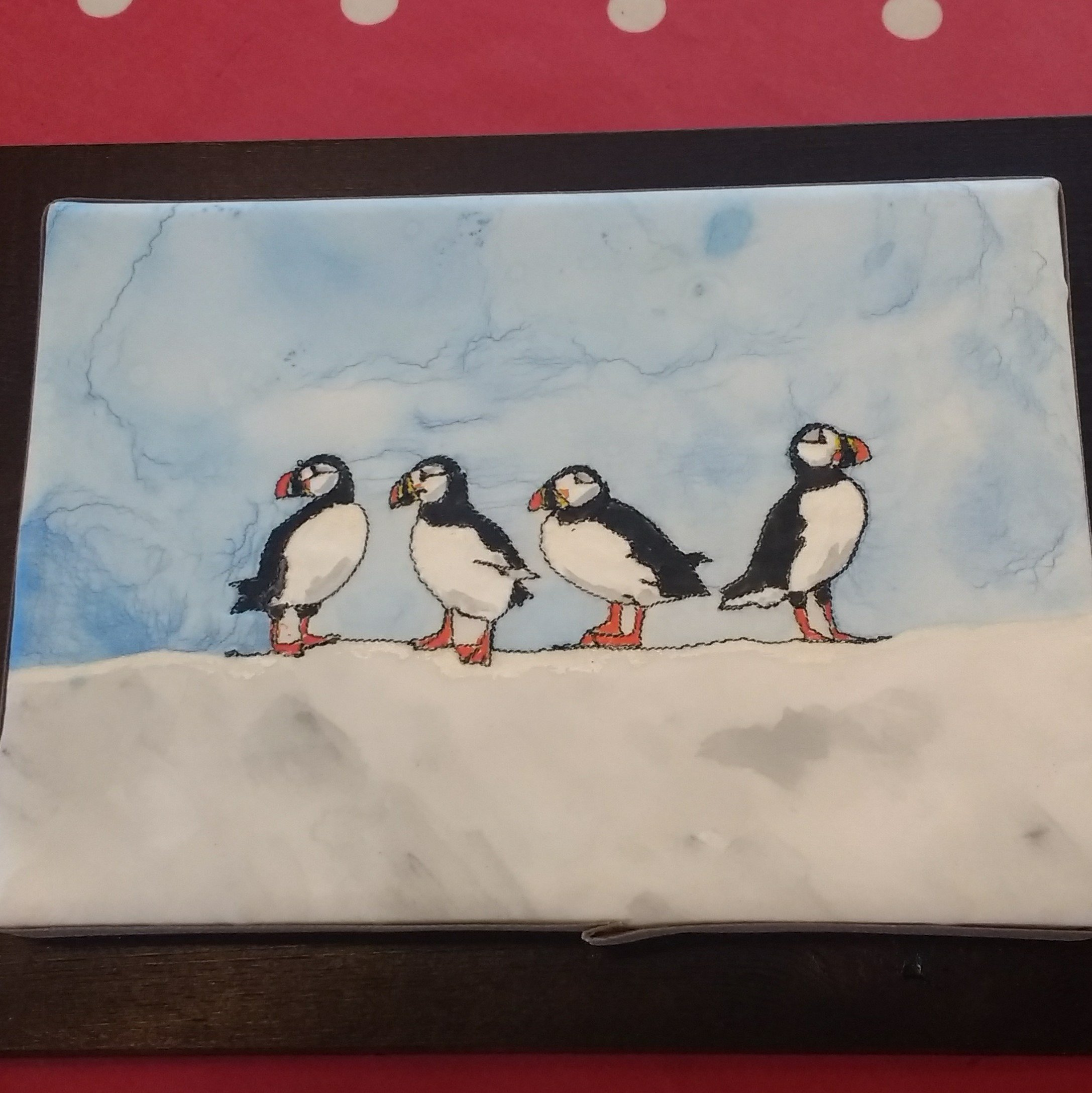 Puffins on silk for blog