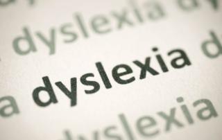 word dyslexia printed on paper macro